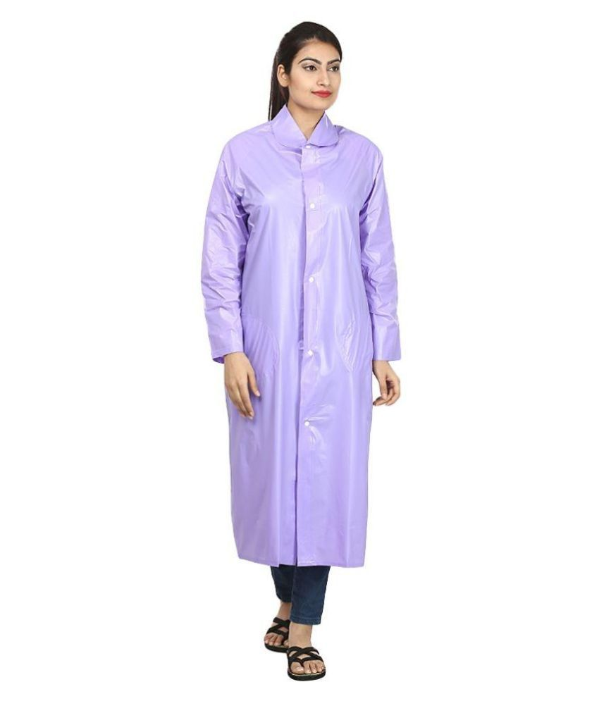 Rainfun Purple Waterproof Long Raincoat