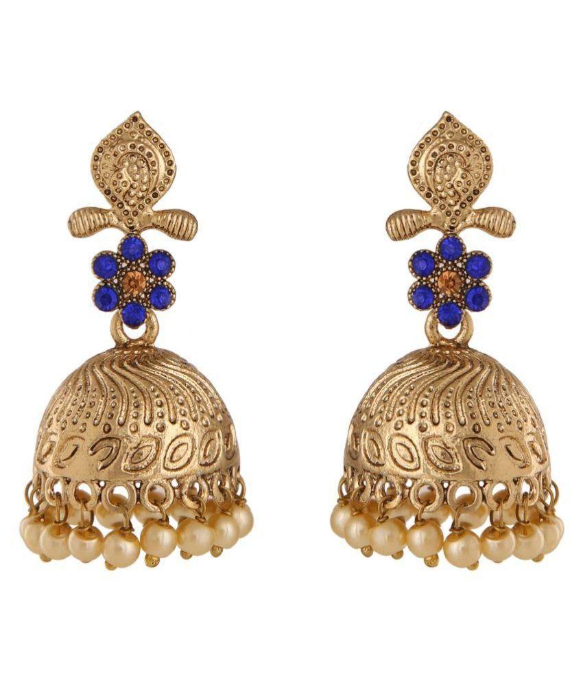 Voril Fashion Golden Alloy Jhumki Earrings