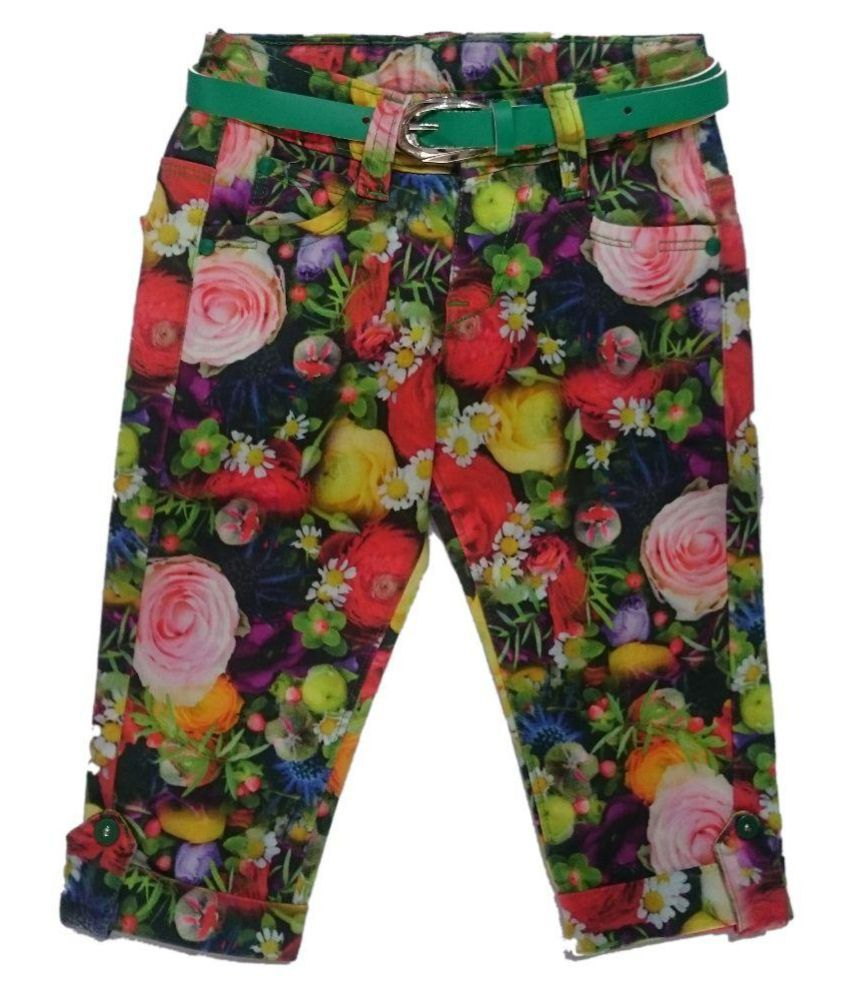 Zola Multicolour Cotton Capris for Girls