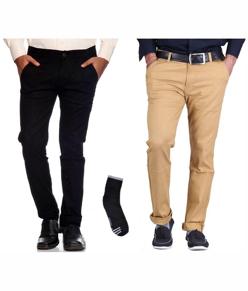 Fuego Multi Slim Fit Chinos Black & Brown Formal Trouser for Men's-Pack of 2