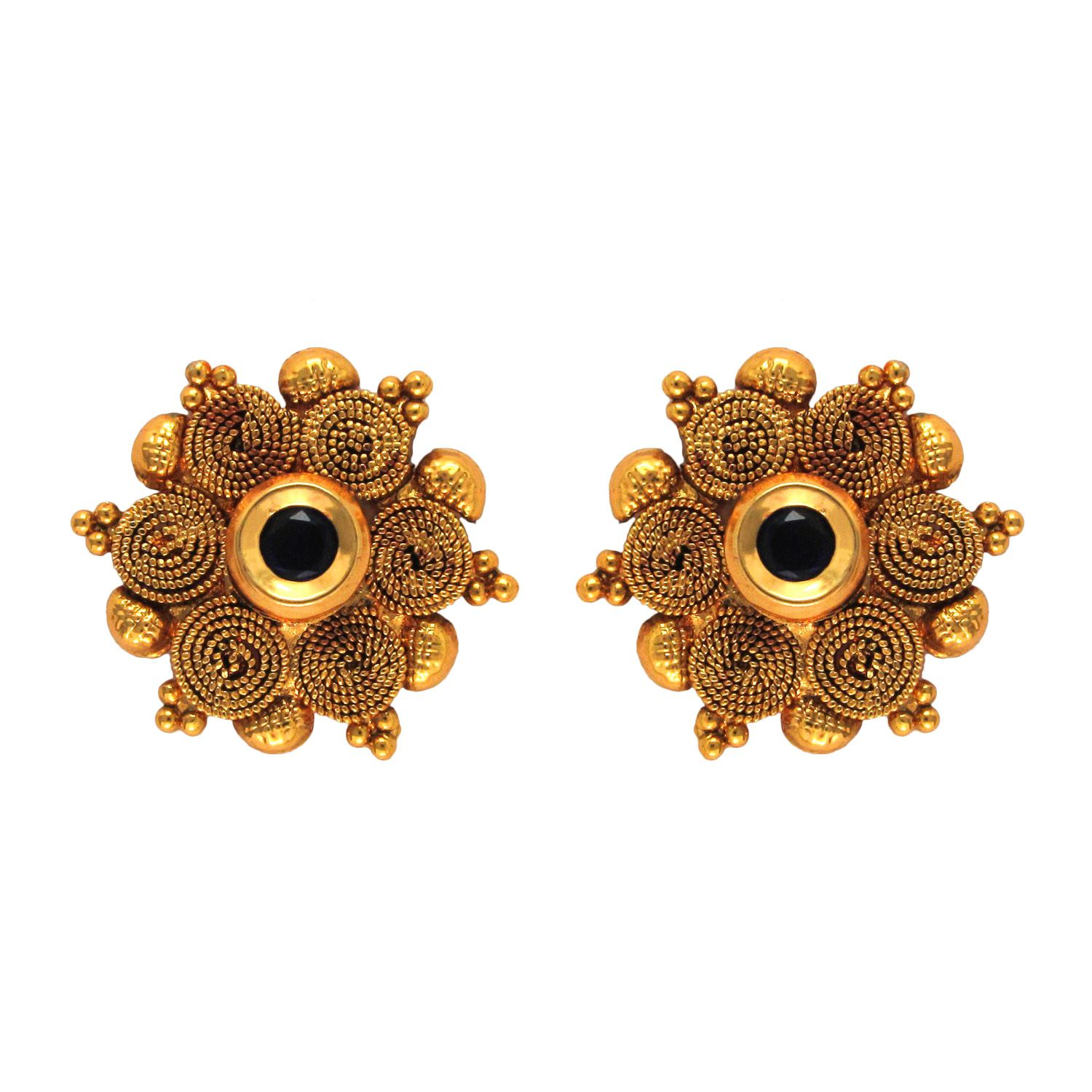 Om Jewells Golden Alloy Stud Earrings