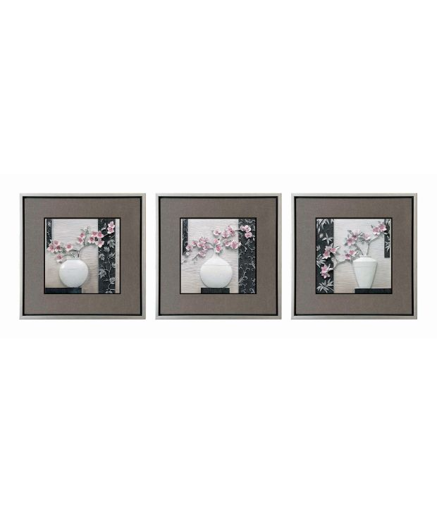 Decals Arts Multicolour 3D Embossed Painting - Set of 3