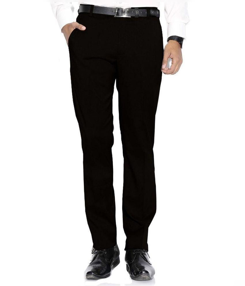 Febulous Black Regular Flat Trouser
