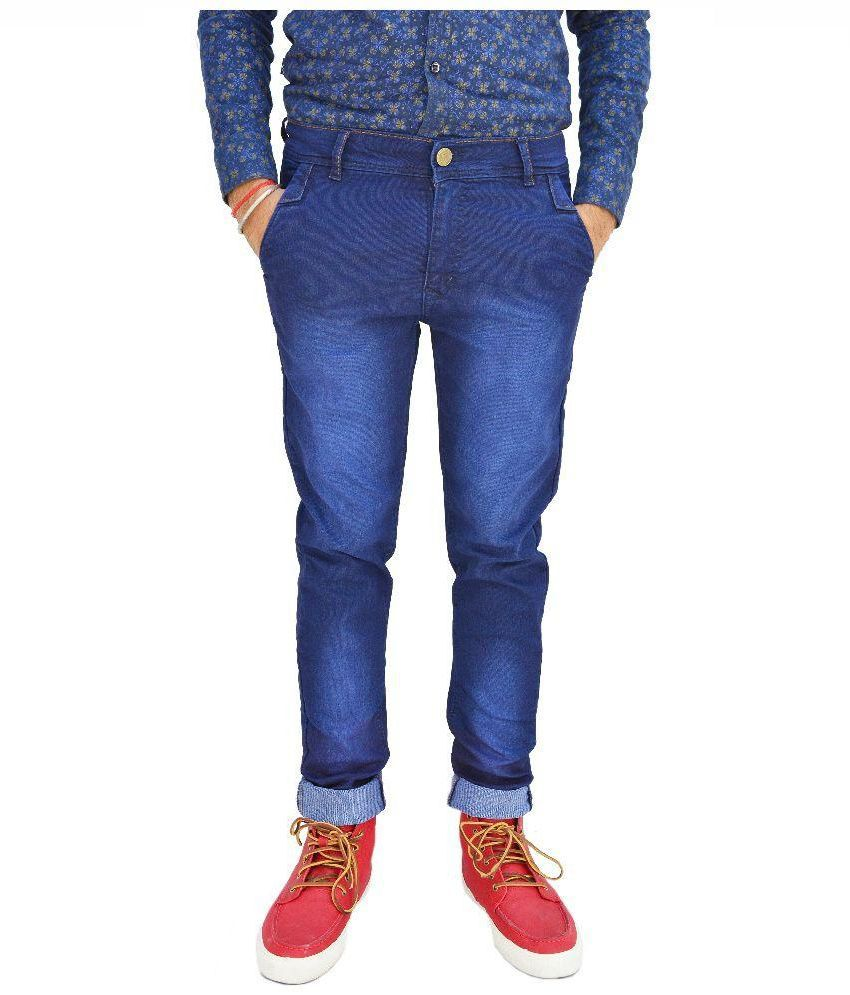 Portbury Fashions Blue Slim Fit Faded Jeans
