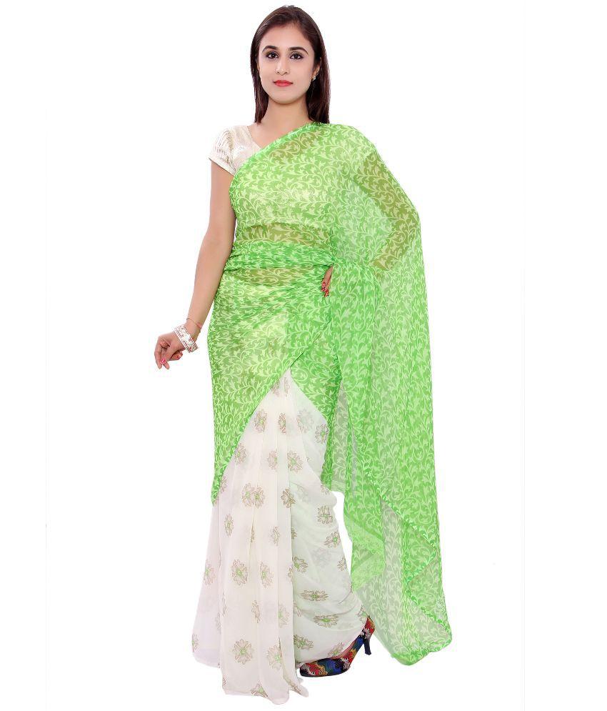 S.R.Agencies Green Chiffon Saree