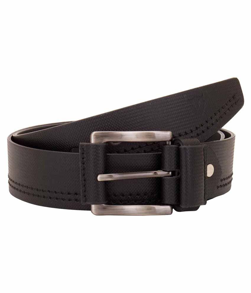 VALBONE Black Leather Belt For Men