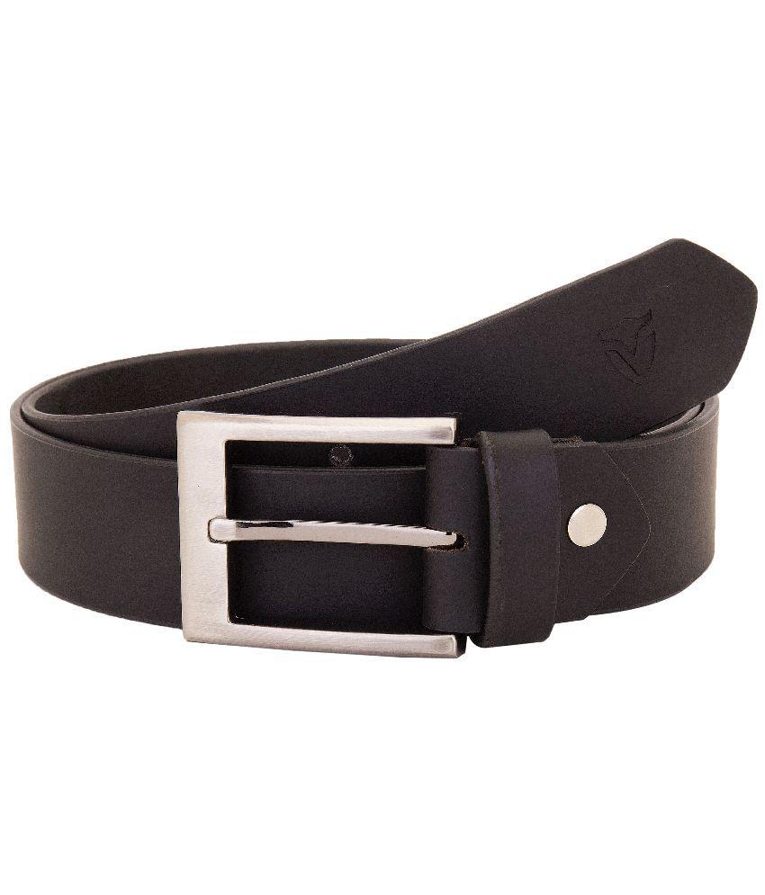 VALBONE Black Leather Casual Belt For Men