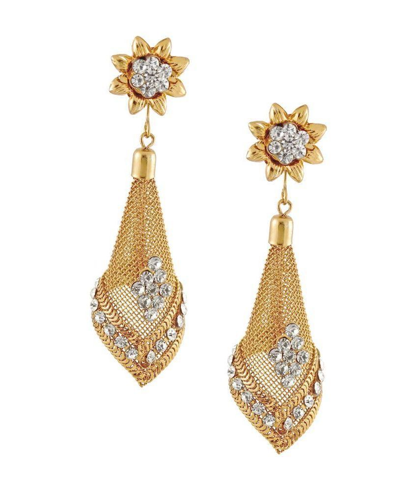 Aahaan Alloy Rhodium Plating Studded Khaki Coloured Earrings