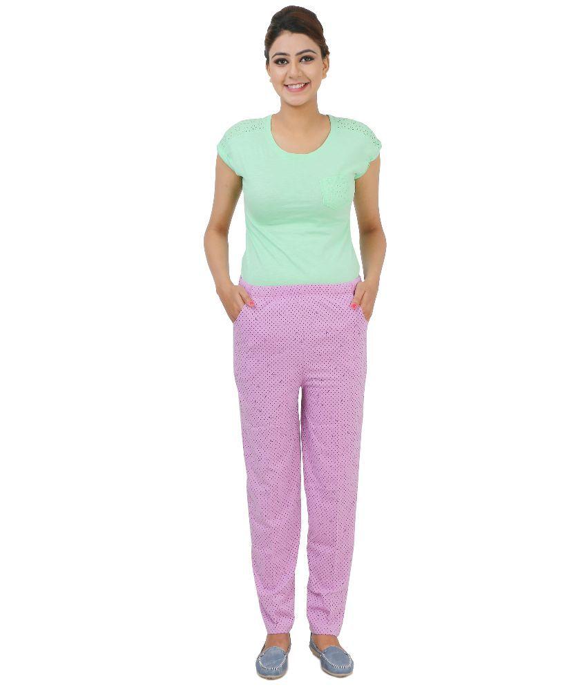 Broche  Purple Cotton Nightsuit Sets