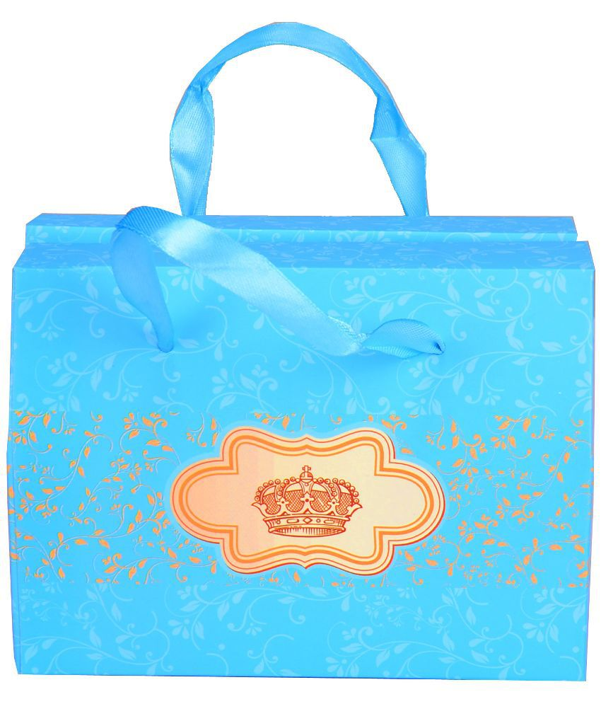 Enwraps Blue Shagun and Gifting Bag - Pack of 10