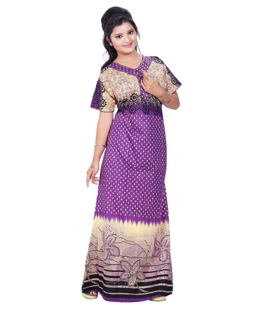 74889a47f32 Buy Mahaarani Purple Cotton Nighty   Night Gowns Online at Best Prices in  India - Snapdeal
