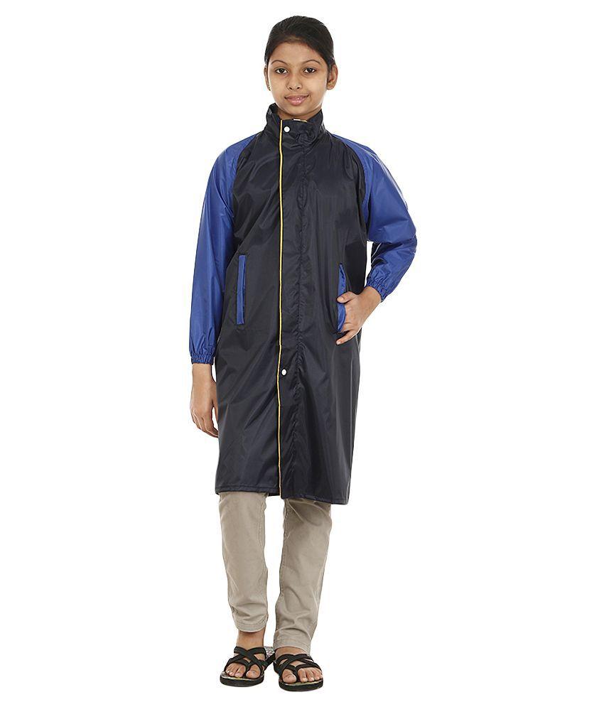 Rainfun Black Nylon Long Raincoat for Girls