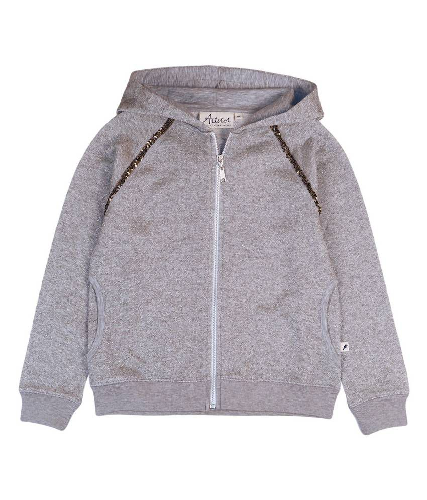 Aristot Gray Cotton Hoodded Sweatshirt for Girls for kids girls