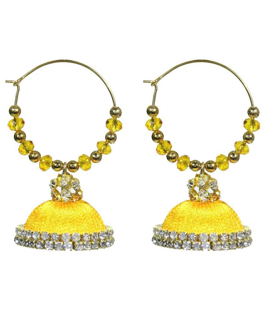 Ayirus Fabric Oxidised Stones Studded Yellow Coloured Earrings