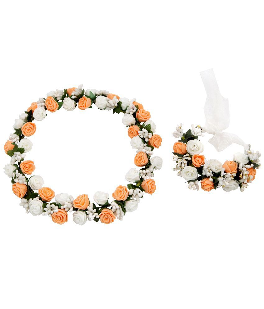Sanjog Peach And White Flower Crown And Hand Tiarapuff Wrap Buy