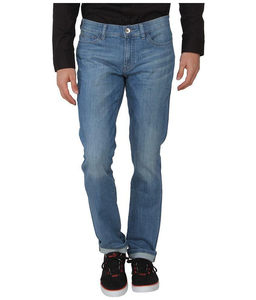 Calvin Klein Blue Regular Fit Solid Jeans