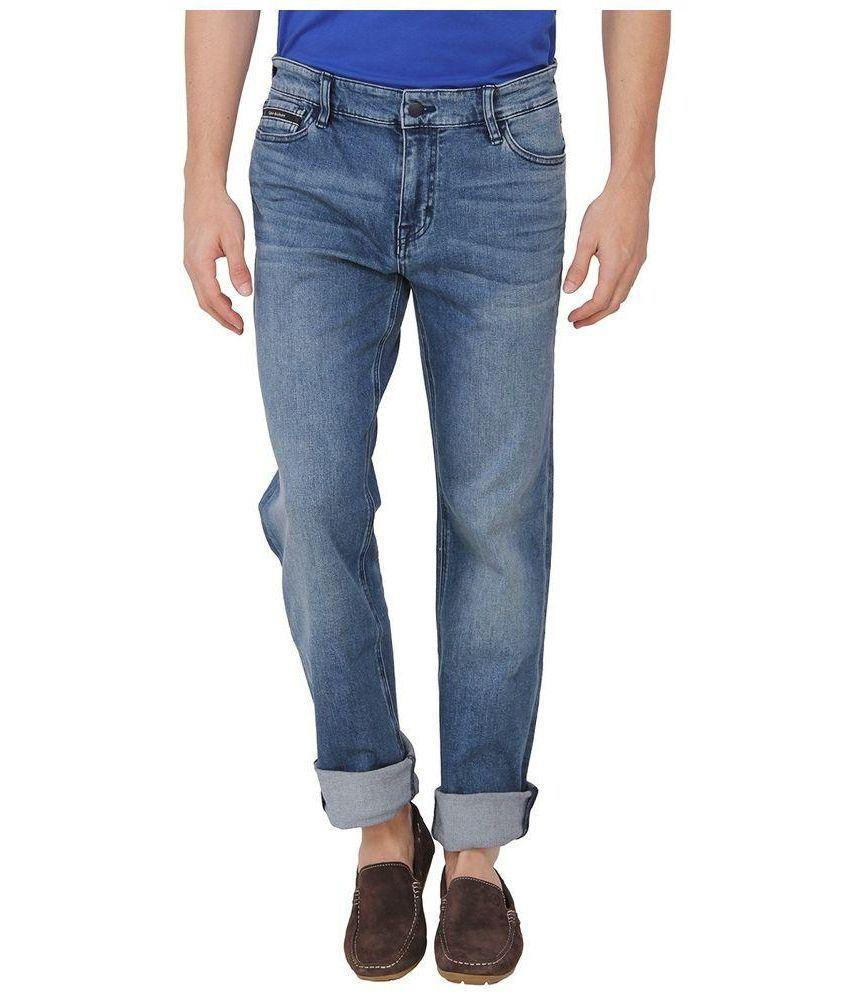 Calvin Klein Blue Regular Fit Solid Jeans