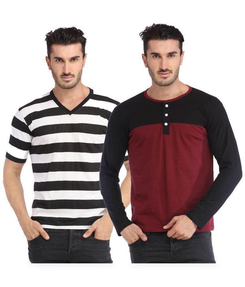 Leana Multi V-Neck T Shirt - Pack Of 2
