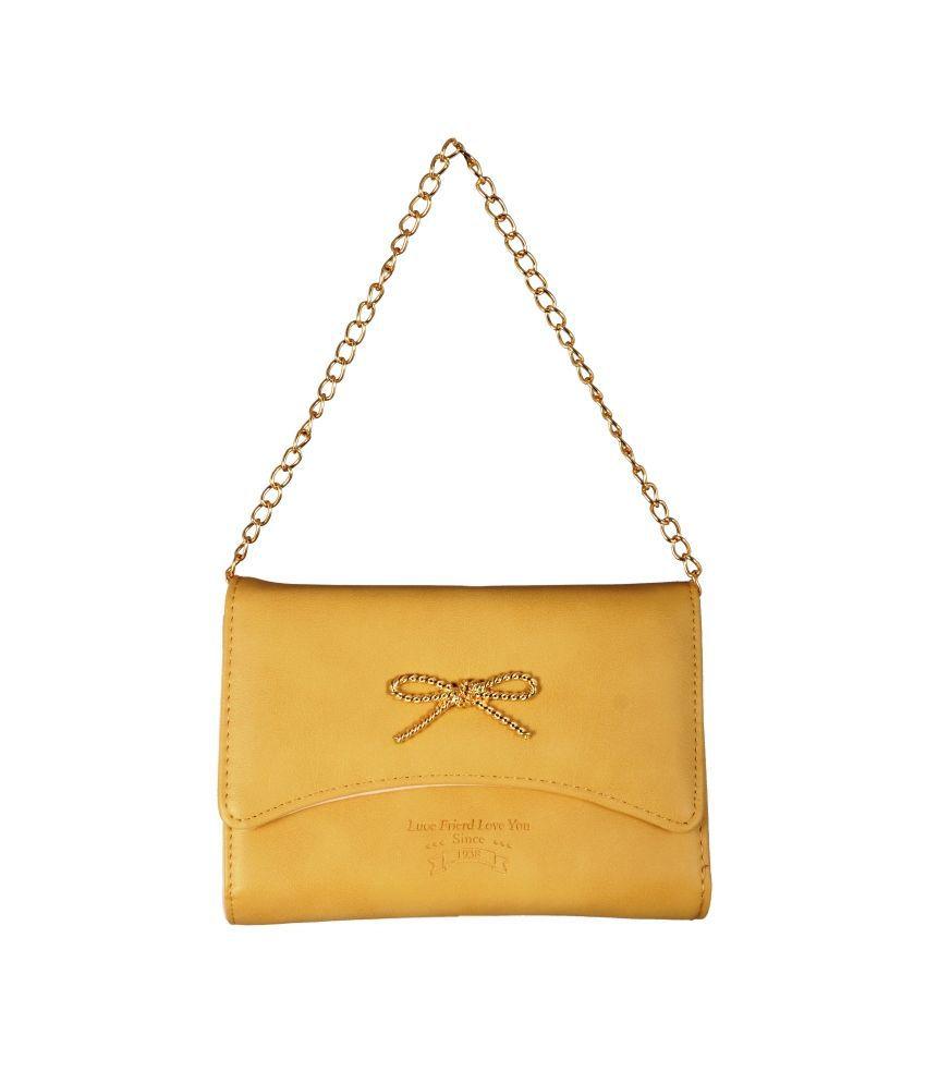 Lizzie Yellow P.U. Sling Bag