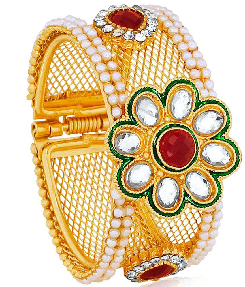 Spargz Brass Gold Plating American diamonds Studded Multi Coloured Kada