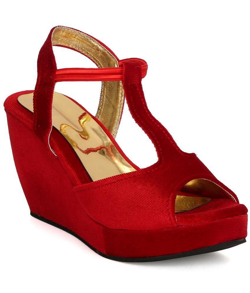 Tic Tac Toe Red Wedges Heels