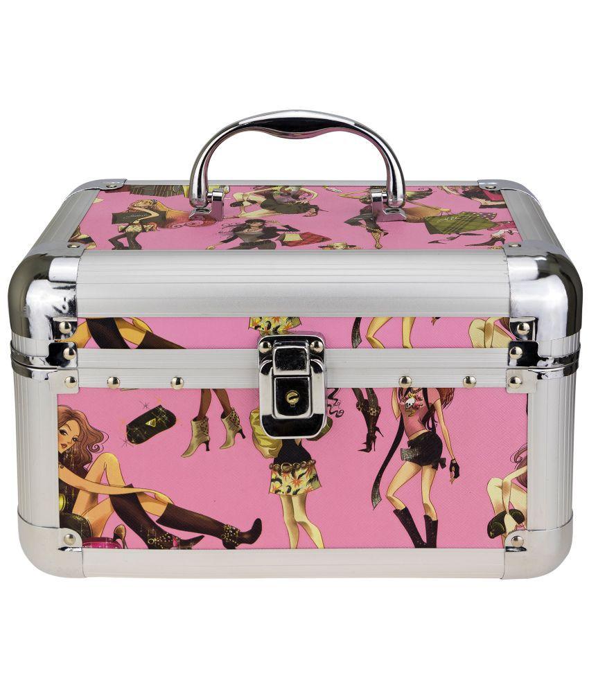 Kaos Wood Oxidised Stones Studded Pink Coloured Jewellery Box