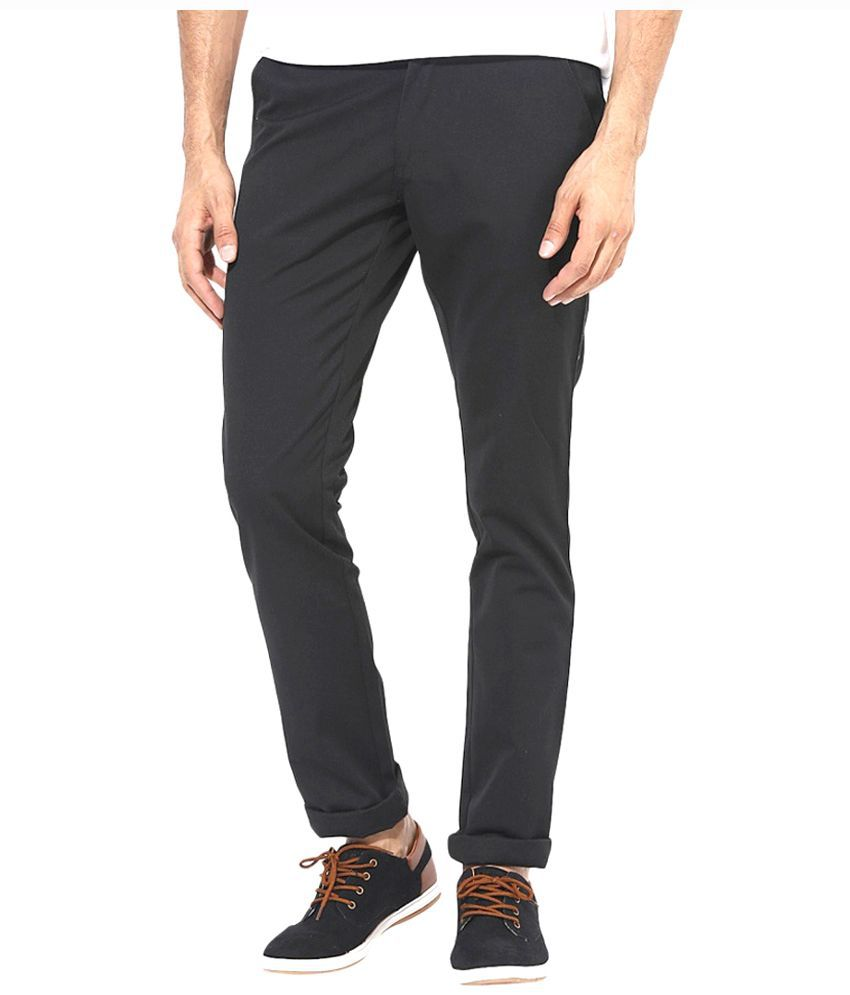 Masterly Weft Black Slim Fit Solid Jeans