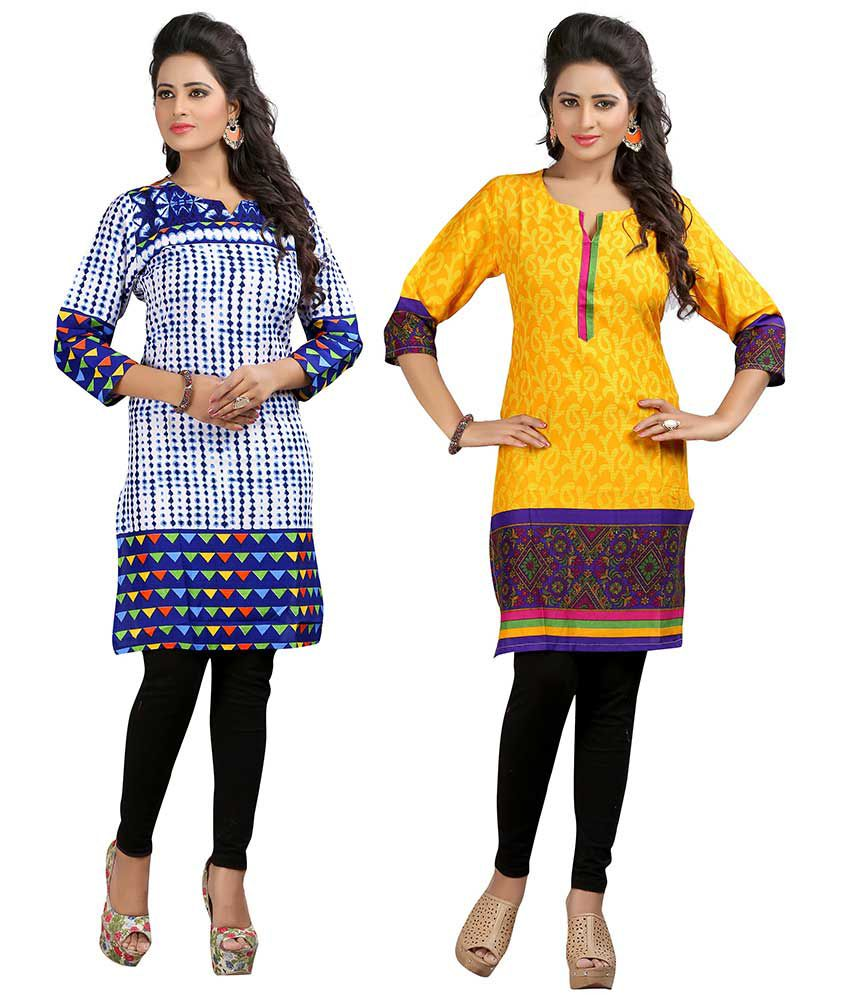 Bria Multicoloured Poly Rayon Straight Kurti