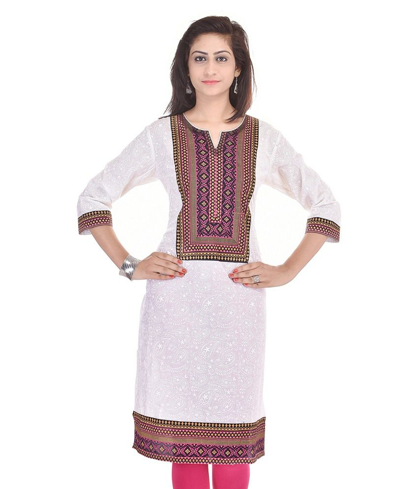 Colour Cluster White Cotton Straight Kurti