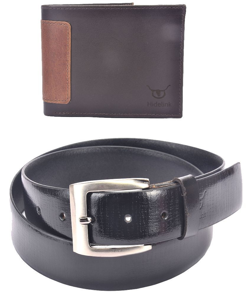 Hidelink Black Leather Belt for Men with Wallet