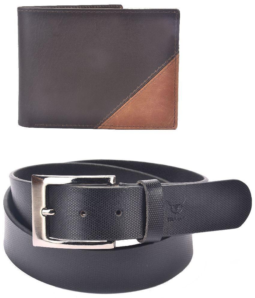 Hidelink Black Leather Belt with Wallet for Men