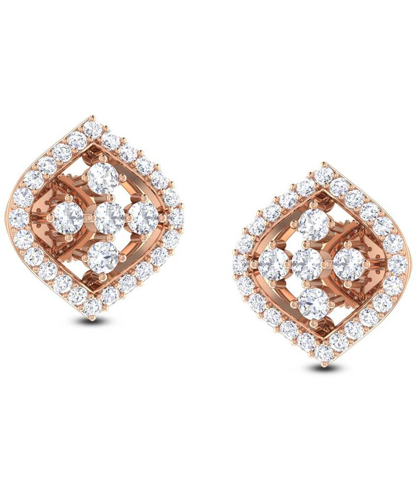 Jisha 18kt Gold and Diamond BIS Hallmarked Stud Earrings
