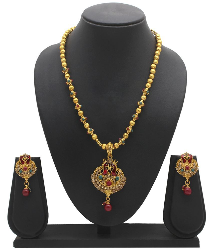 Party Queen Alloy Gold Plating Stones Studded Multi Coloured Necklaces Set