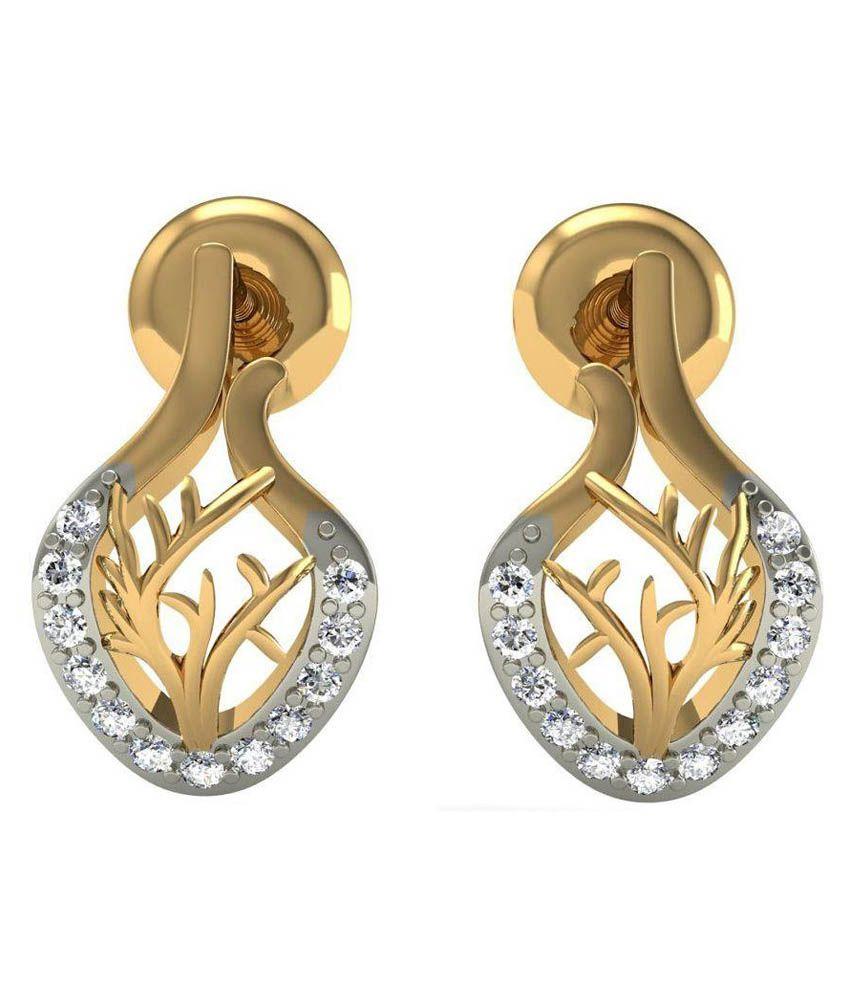 Rasav Jewels BIS Hallmarked 18 Kt Gold Stud Earrings