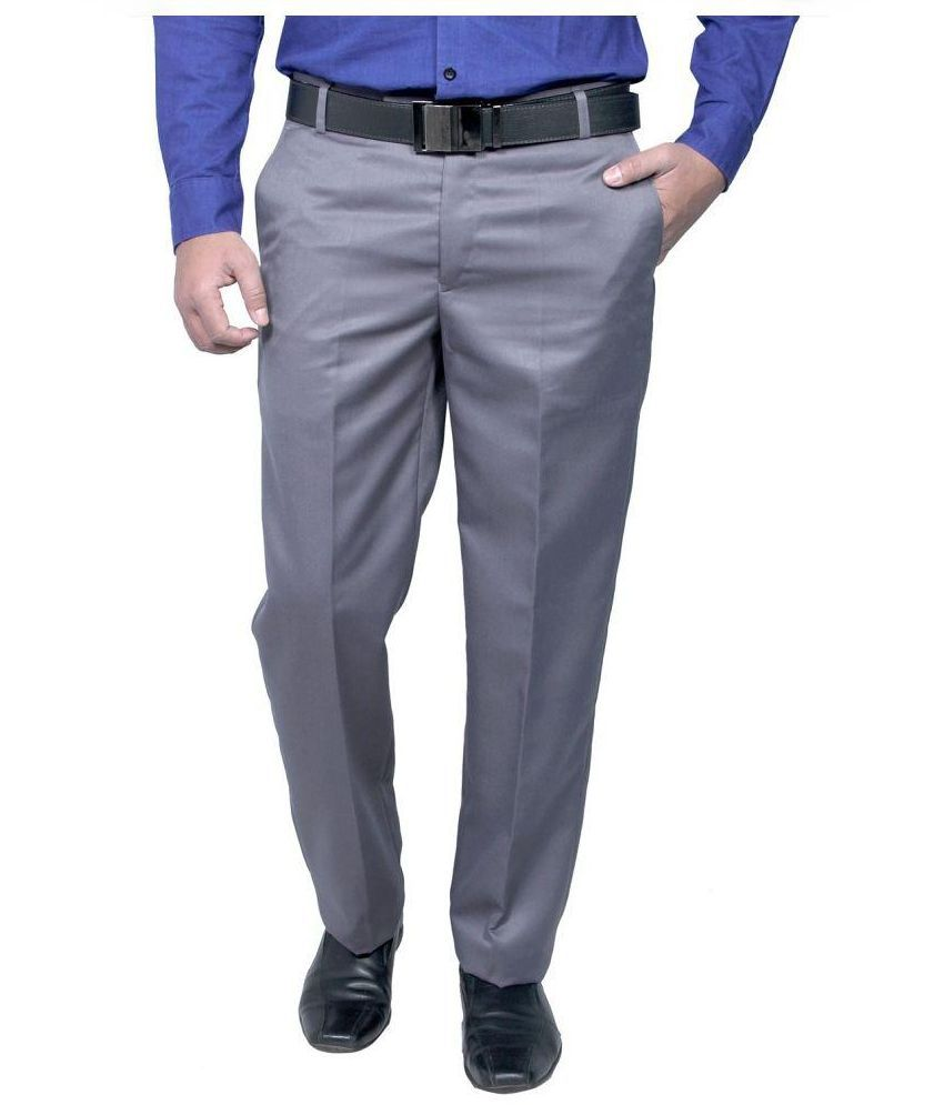 Rich Perk Grey Slim Fit Flat Trousers