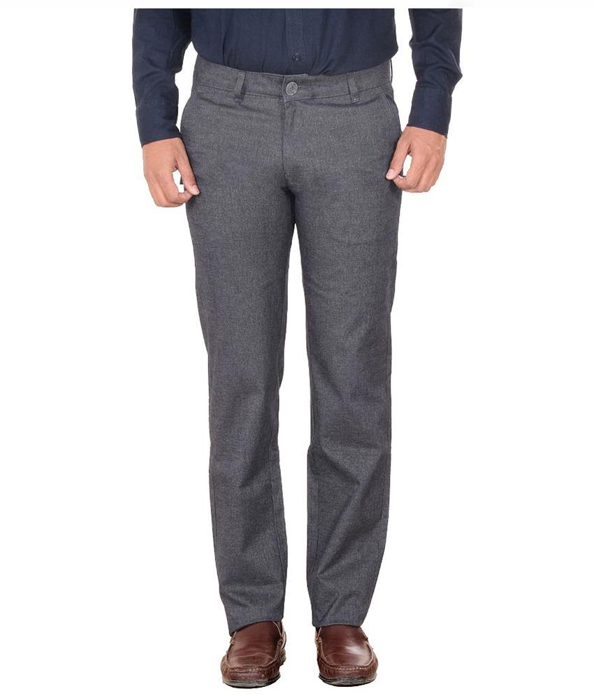 Solemio Grey Slim Fit Flat Trousers
