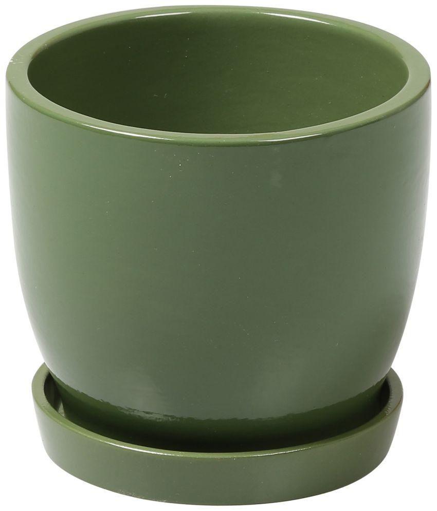 Decardo Green Glazed Ceramic Pots & Planters With Saucer ... - Decardo Green Glazed Ceramic Pots & Planters With Saucer: Buy
