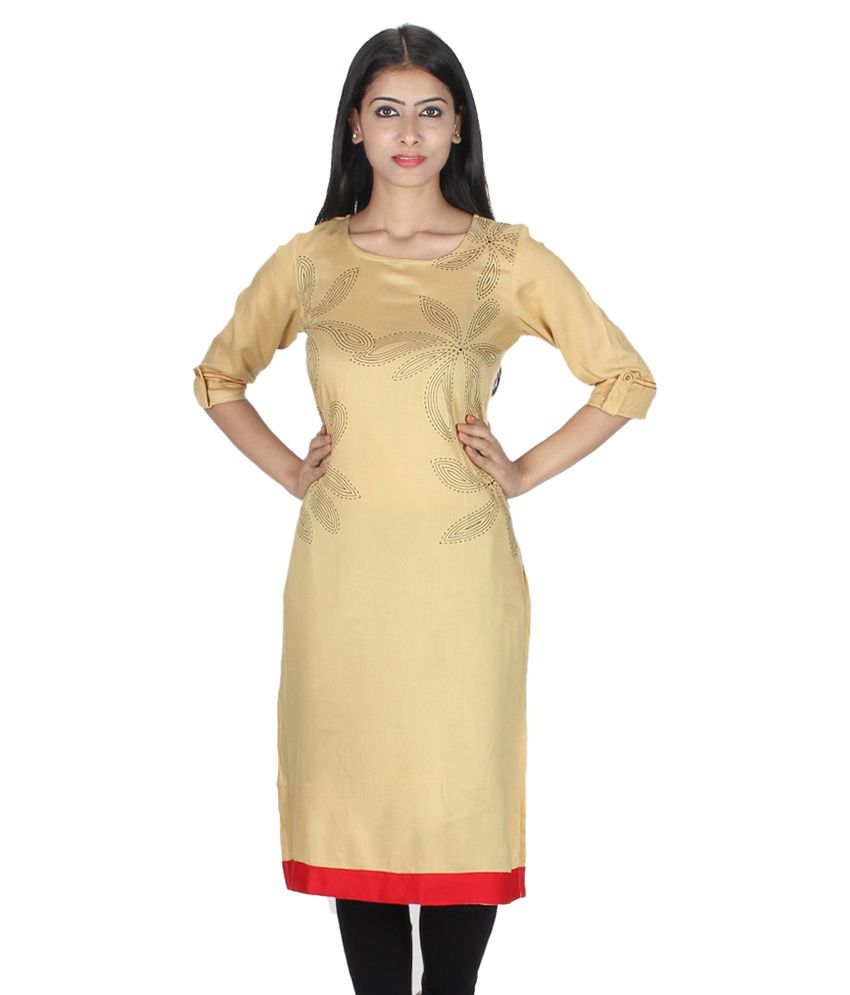 Etiquette Yellow Viscose Straight Kurti