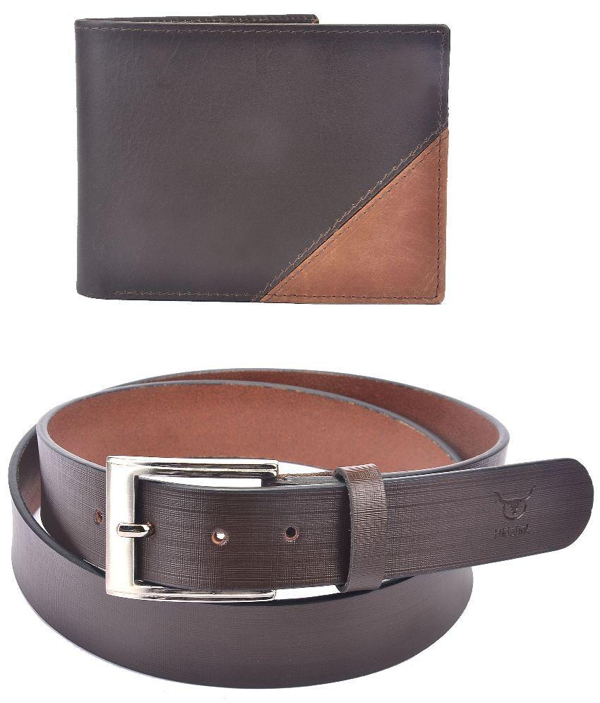 Hidelink Brown Leather Belt for Men with Wallet