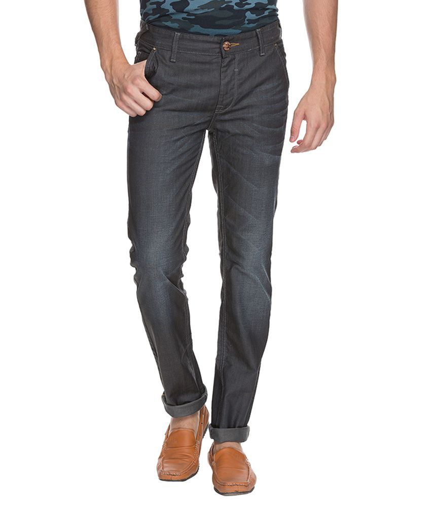 Mufti Grey Tapered Fit Jeans
