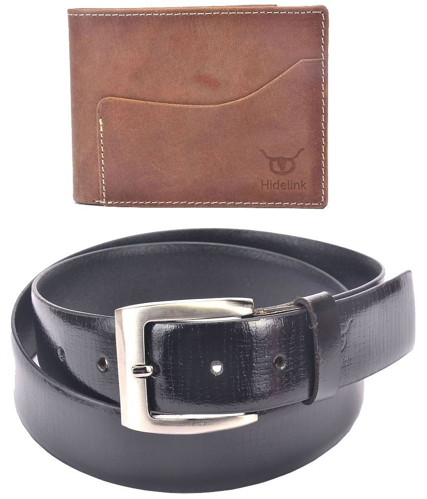 Hidelink Black Leather Single Formal Belt with Wallet for Men