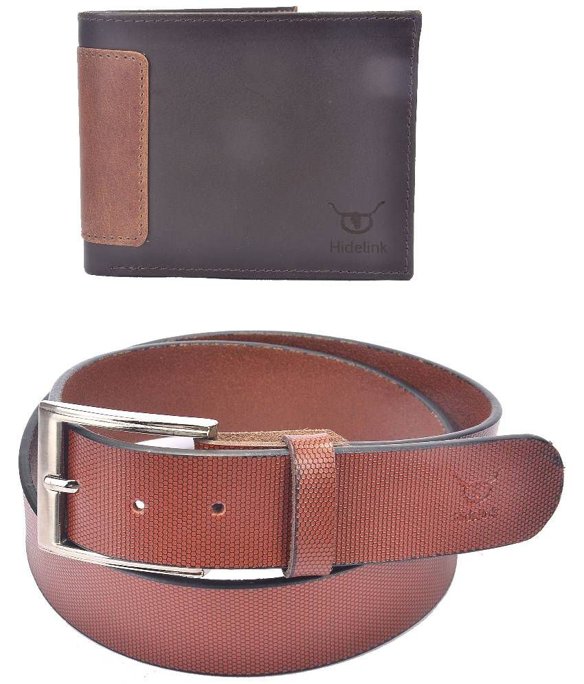 Hidelink Tan Leather Single Formal Belt with Wallet for Men