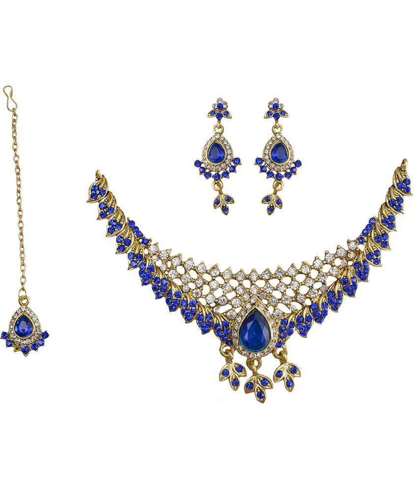Taj Pearl Brass Oxidised Crystal Studded Blue Coloured Necklaces Set