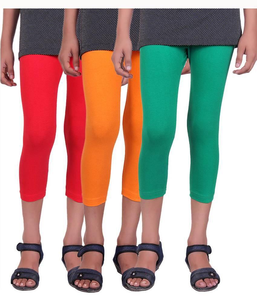 Alisha Cotton Lycra Girls Capri - Pack of 3