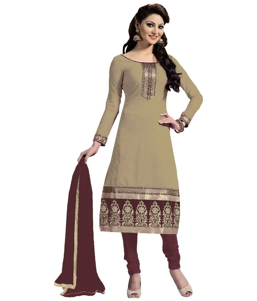 6a0ed36f2e6 Blissta Beige Chanderi Dress Material available at SnapDeal for Rs.779