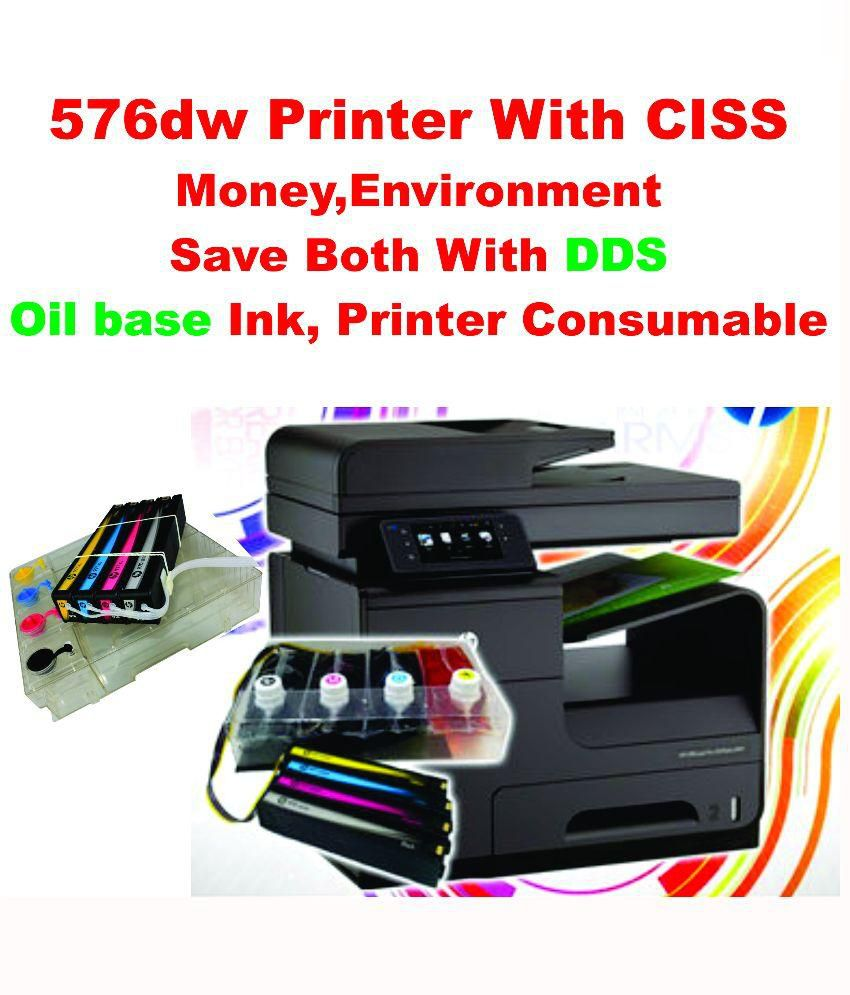 HP Office Jet Pro 576 DW Printer with CISS or 500 ml ink for  each colour