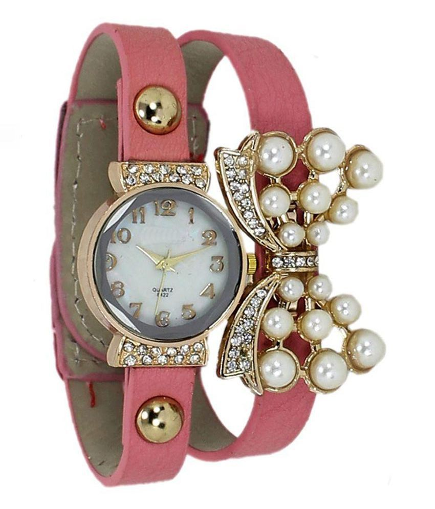 Otd Pink Leather Analog Girls Watch Price in India: Buy Otd Pink ...
