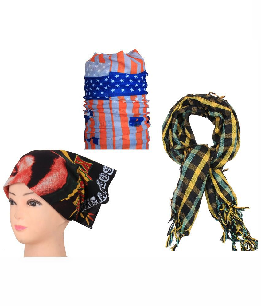 Sushito Combo of Multicolour Polyester Two Headwraps and Scarf for Men