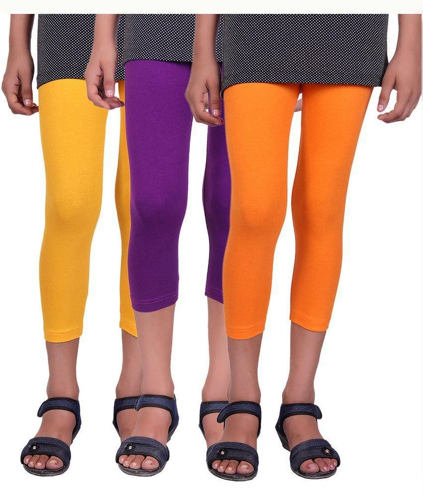 Alisha Cotton Lycra Multicolour Capri - Pack of 3