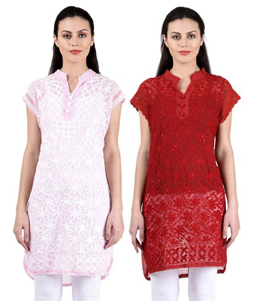 Hardy's Collection Multicoloured Georgette Straight Kurti - Pack of 2